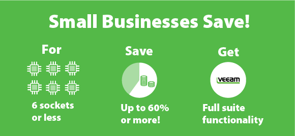 Save up to 60% or more with Veeam Backup Essentials for VMware vSphere and Microsoft Hyper-V!